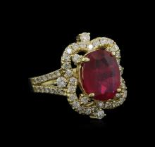 5.00ct Ruby and Diamond Ring - 14KT Yellow Gold