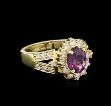 1.72ct Pink Sapphire and Diamond Ring - 14KT Yellow Gold
