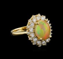 2.17ct Opal and Diamond Ring - 14KT Yellow Gold