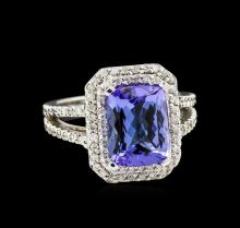4.15ct Tanzanite and Diamond Ring - 14KT White Gold