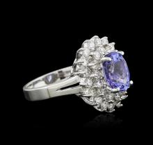 14KT White Gold 2.37ct Tanzanite and Diamond Ring