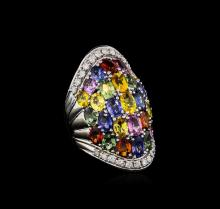 14.12ctw Multi-Color Sapphire and Diamond Ring - 14KT White Gold