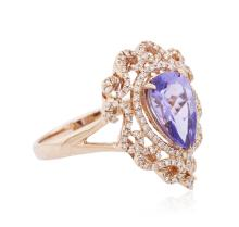 14KT Rose Gold 1.79ct Tanzanite and Diamond Ring