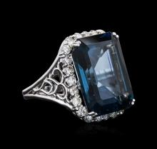 14KT White Gold 31.13ct Topaz and Diamond Ring