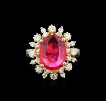 3.82ct Ruby and Diamond Ring - 14KT Yellow Gold