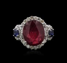 14KT White Gold 4.90ct Ruby, Sapphire and Diamond Ring