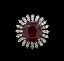 14KT White Gold 14.62ct Ruby and Diamond Ring