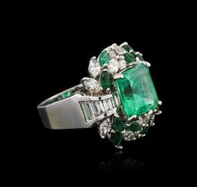 18KT White Gold 5.80ctw Emerald and Diamond Ring