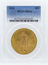 1924 PCGS MS63 $20 St. Gaudens Double Eagle Gold Coin