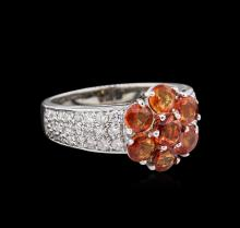 2.46ctw Orange Sapphires and Diamond Ring - `14KT White Gold