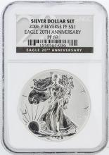 2006-P Reverse Proof NGC PF69 20th Anniversary American Silver Eagle Dollar