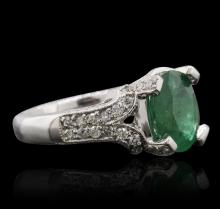 14KT White Gold 3.01ct Emerald and Diamond Ring