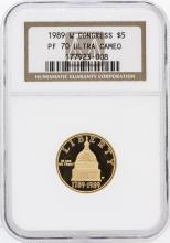 1989-W NGC MS70 Ultra Cameo $5 Congress Gold Coin