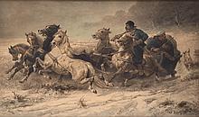 GENRE SCENE BY ADOLF SCHREYER (GERMANY, 1828-1899).