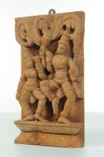 CARVED WOOD SOUTHEAST ASIAN WALL PLAQUE.