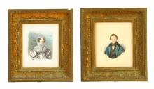 PAIR OF PORTRAITS (AMERICAN SCHOOL, MID 19TH CENTURY).