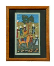 TWO MUGHAL PORTFOLIO PAINTINGS.