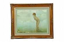 PRINT OF NUDE FEMALE FIGURE AFTER PAUL CHABAS (FRENCH, 1869-1937).