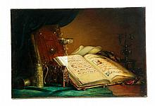 STILL LIFE WITH BOOK AND HELMET BY EUGENE ERNEST LEFEBVRE (FRENCH, 1850-1889).