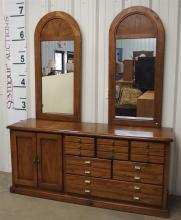Bassett Dresser with Double Mirror, Oak Finish