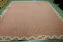 Large Pink Rug with Laurel Border, 10 x 12