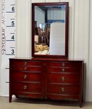 Vintage Mahogany Serpentine Dresser with Mirror
