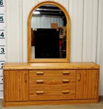 Contemporary Dresser, Arched Mirror, Light Oak Finish