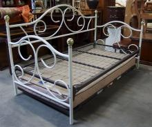 White & Gold Metal Trundle Day Bed