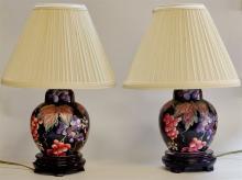 Pair Cobalt Enamel Poly-chrome Floral Lamps, 14 H