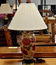 Large Floral Baluster Lamp, 29 H