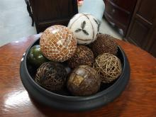 Large Ceramic Bonsai Style Center Bowl with Spheres, 16 D