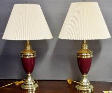 Pair of Burgundy Enameled Lamps, Brass Finish