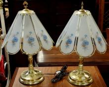 Pair of Touch Lamps, Blue Flowers