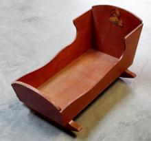 Vintage Wooden Doll Cradle
