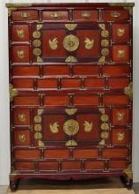 Antique Korean Jang Brass Mounted Stacking Clothing Chest