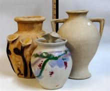 2 Decorator Pottery Vases, Glazed Jar
