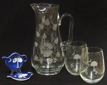 5 pc. Lot – Pitcher, Glasses, Teabag Holders
