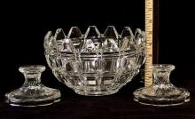 Towle Crystal Bowl, Pair Candlestick Holders