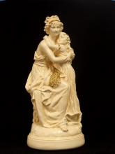 Cast Ceramic Sculpture 'Mother & Child' 21-1/2 H