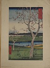KATSUSHIKA HOKUSAI (1760-1849) VIEW OF FUGI WITH CHERRY BLOSSOMS, PENN PRINTS, CA. 1950