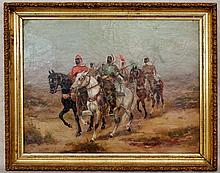 ADOLF SCHREYER (GERMAN, 1828-1899), ARAB HORSEMAN, OIL ON CANVAS, ATTRIBUTED