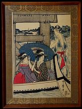 UTAMARO, KITAGAWA  (JAPANESE, 1753-1806) ON TOP AND BENEATH RYOGOKU BRIDGE, COLOR WOODBLOCK, LEFT SHEET