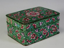 19th C. CHINESE HAND-ENAMELED BRASS BOX