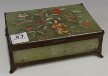 JADE PLAYING CARD BOX WITH CORAL & IVORY SCENE