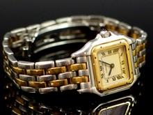 18K GOLD/STEEL CARTIER  PANTERE OR ET ACIER LADIES WATCH