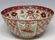 Swatow Ware Bowl with  Red and Green Overglaze
