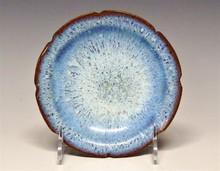 Chinese Robin's Egg Blue Mottled Glaze Lobed Bowl