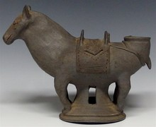 Important Korean Horse Shaped Pottery Vessel, Silla Dynasty or after