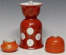 Asian Gilded Porcelain - Candle Holder, Ink Bottle, Pot