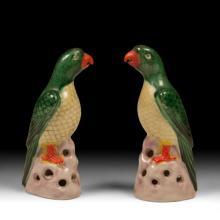 Pair of Decorative Porcelain Parrots